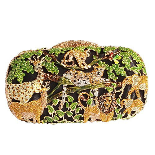 Digabi Animal World Women Crystal Evening Clutch Bags (One Size : 6.9*4*1.8 IN, green gold crystal-gold plated)