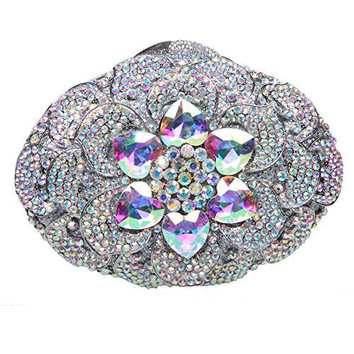 Fawziya Big Diamond Flower Purses And Clutches And Evening Bags-AB Silver
