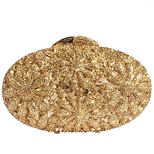 Digabi Oval Shape Women Crystal Evening Clutch Bags (One Size : 6.7*4.4*2 IN, champagne crystal - gold plated)