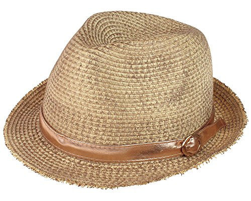 Capelli New York Distressed Straw Fedora with Band and Buckle Detail Natural Combo One Size