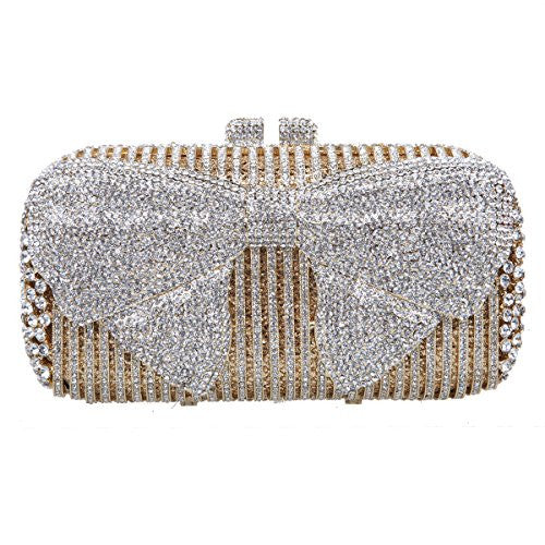 Fawziya Bow Crystal Clutch Purses For Women Evening Bags And Clutches-Gold