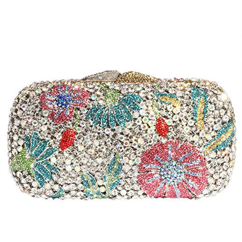 Digabi Morning Glory Pattern Women Crystal Evening Clutch Bags (One Size : 6.7*3.8*2.4 IN, Pink Crystal Flowers - Silver Plated)