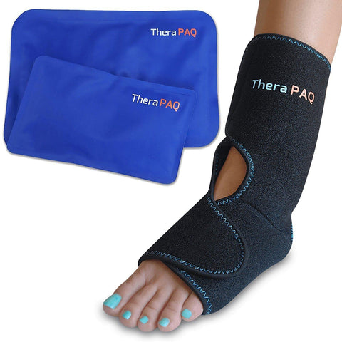 Foot & Ankle Pain Relief Ice Wrap with 2 Hot / Cold Gel Packs by TheraPAQ - TheraPAQ Hot & Cold Packs