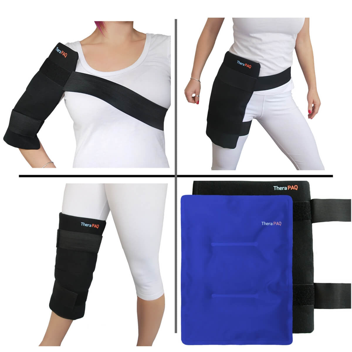 Large Pain Relief Ice Pack with Wrap by TheraPAQ for Hot / Cold Therapy - Fits Hip, Shoulder, Knee, Thigh, Shins & Calves