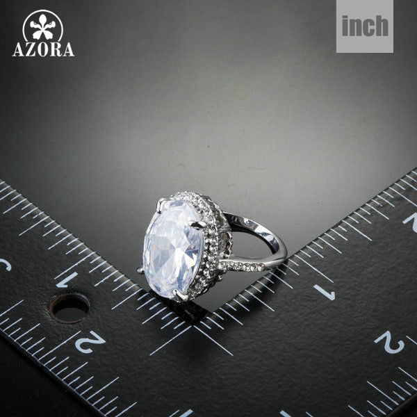 Silver Color Big Oval-cut 5ct Egg Shaped Clear Cubic Zirconia Ring - Large Statement Ring