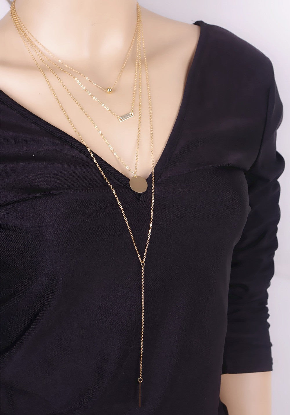 Gold Tone Multi-Layer Chain - Four Layer Simple Metal Long Necklaces & Pendants