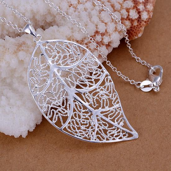 Leaf Necklace - Elegant Filigree Silver Leaf Pendant Necklace