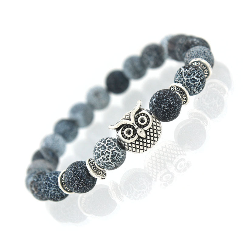 Owl Natural Stone Bead Stretch Bracelet - Yoga Stone Jewelry