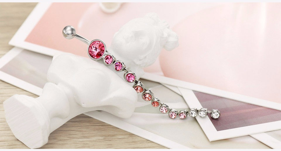 Rhinestone Piercing Belly Button Ring - Body Piercing