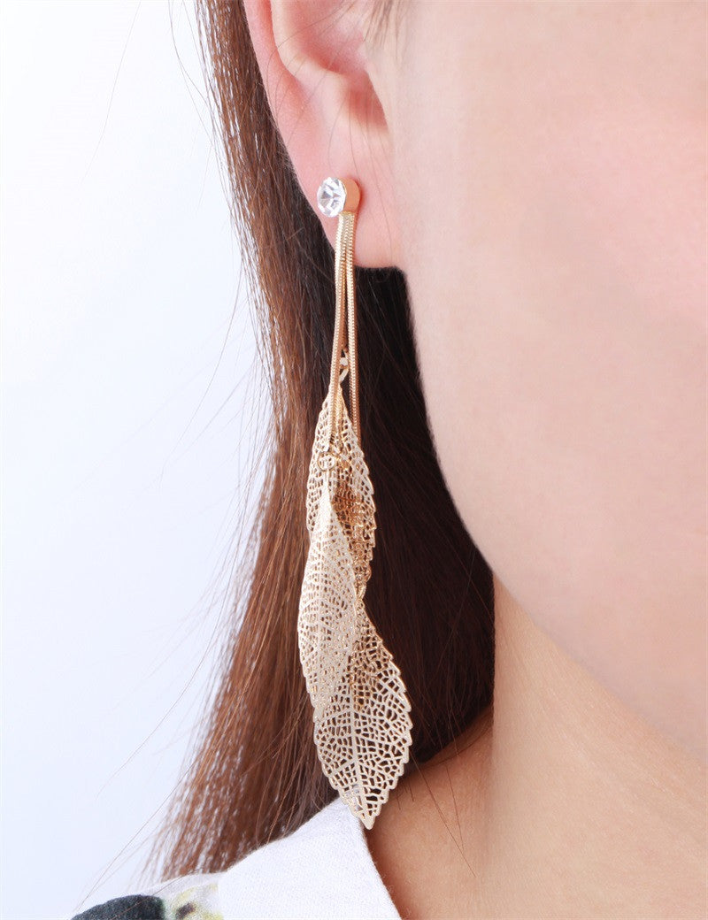 Filigree Tripe Leaves - Crystal Leaf Drop Dangle Long Earrings
