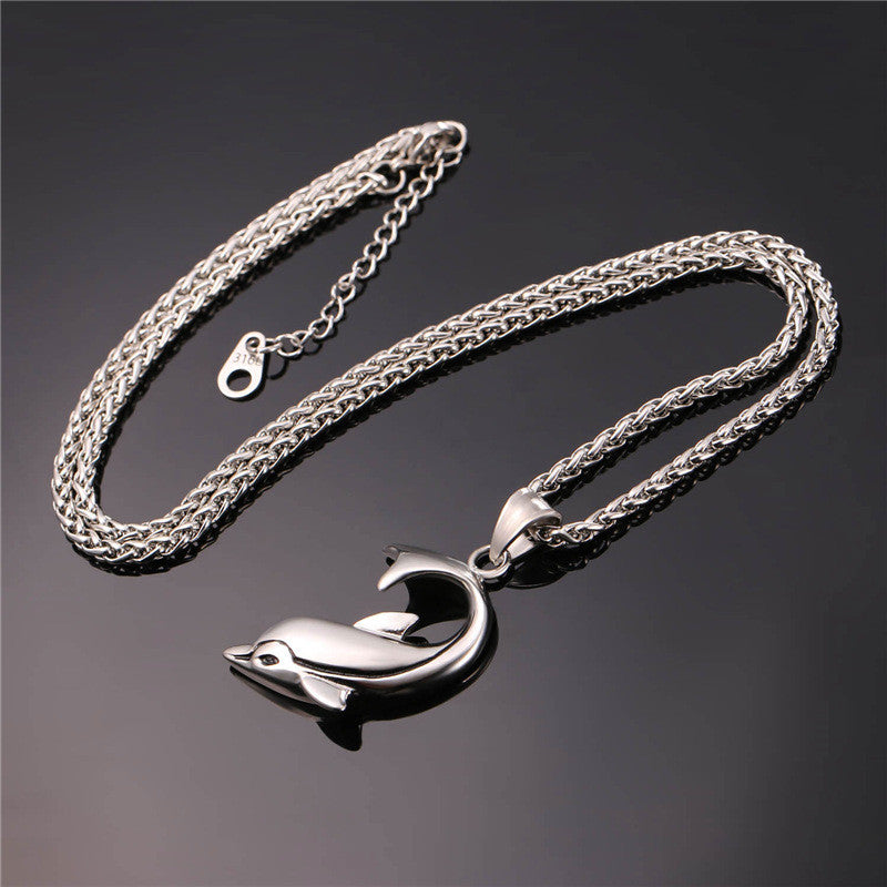 Stainless Steel Large Dolphin Pendant & Chain