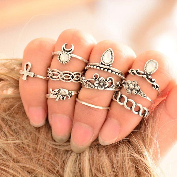 10 Piece Ring Set - Ethnic Vintage Elephant Ring Set - Carved Flower Bohemian Rings