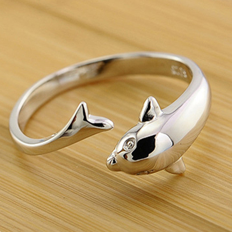 Silver Plated Cute Dolphin Ring - Re-sizable Open Dolphin Ring