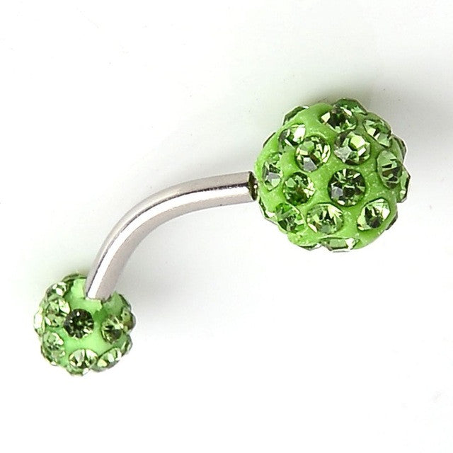 Crystal Ferido Navel Belly Bar - 10mm Double Ball Gem - Stainless Steel Belly Button Ring - Piercing Jewel