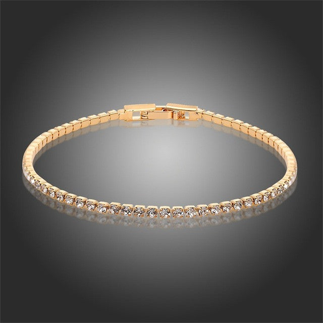 Rhinestone Crystal Slim Tennis Bracelet - Assorted Colors