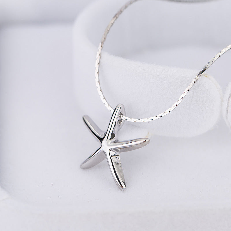 Exquisite Silver Starfish Pendant Necklace