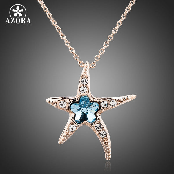 Blue Austrian Crystal Starfish Pendant Necklace