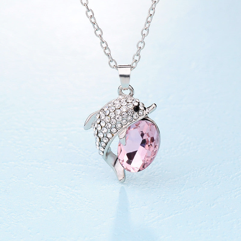 Beautiful Rhinestone Dolphin Crystal Pendant Necklace - Choose Color
