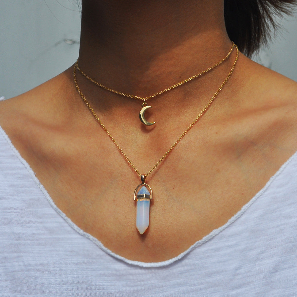 Natural Stone Moon Choker Multi-Layer Necklace