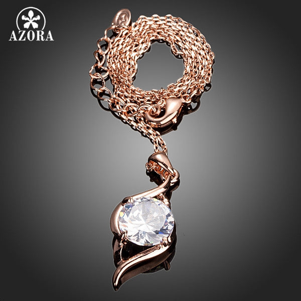Rose Gold Color Clear Cubic Zirconia Pendant Necklace