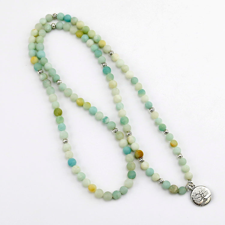 Frosted Amazonite Stone Bracelet - Prayer Beads - Tree of Life Bracelet - Mala Beads Bracelet
