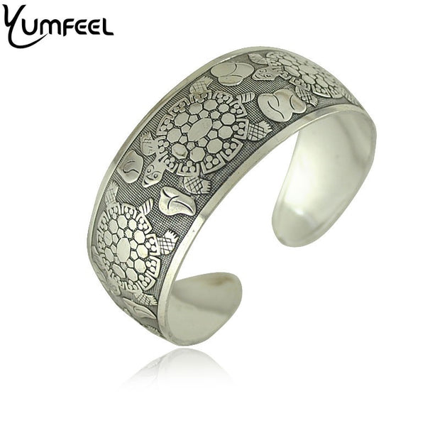 Design Vintage Silver Plated Bangles - Elephant - Turtle - Cuff Bracelet Bangle