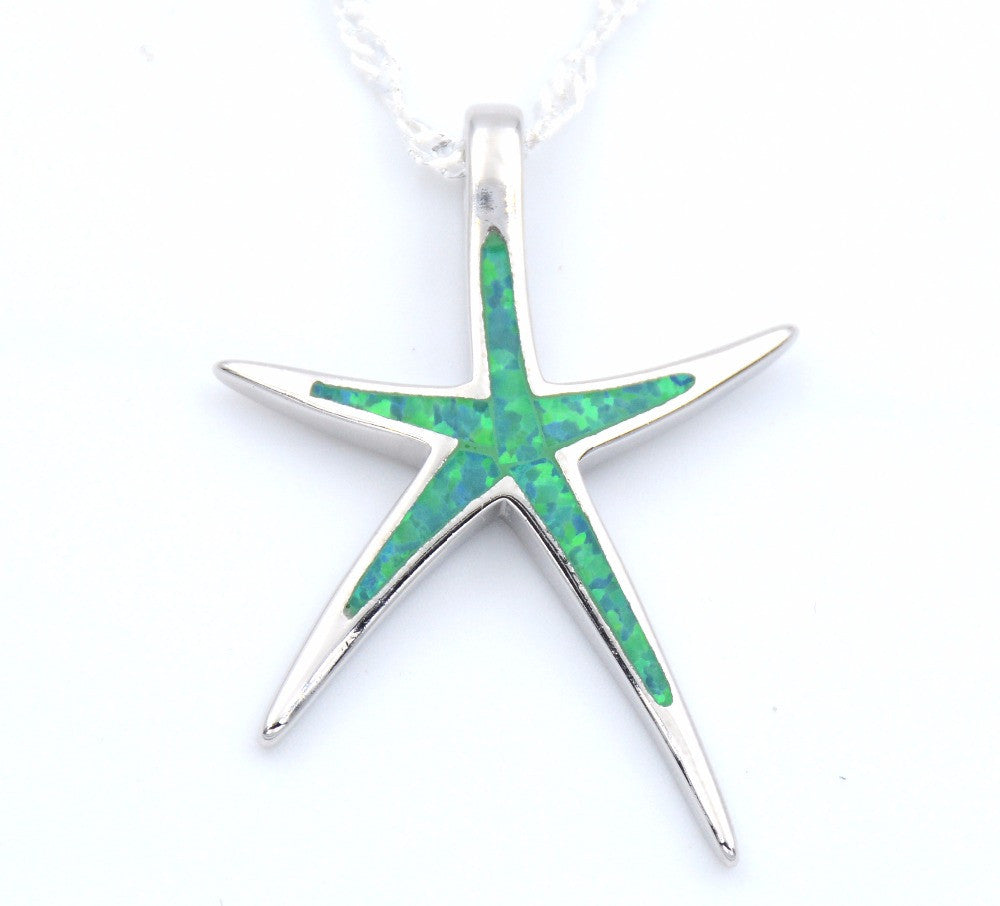 Opal Starfish Pendant Necklace With Wave Chain - Choose Color