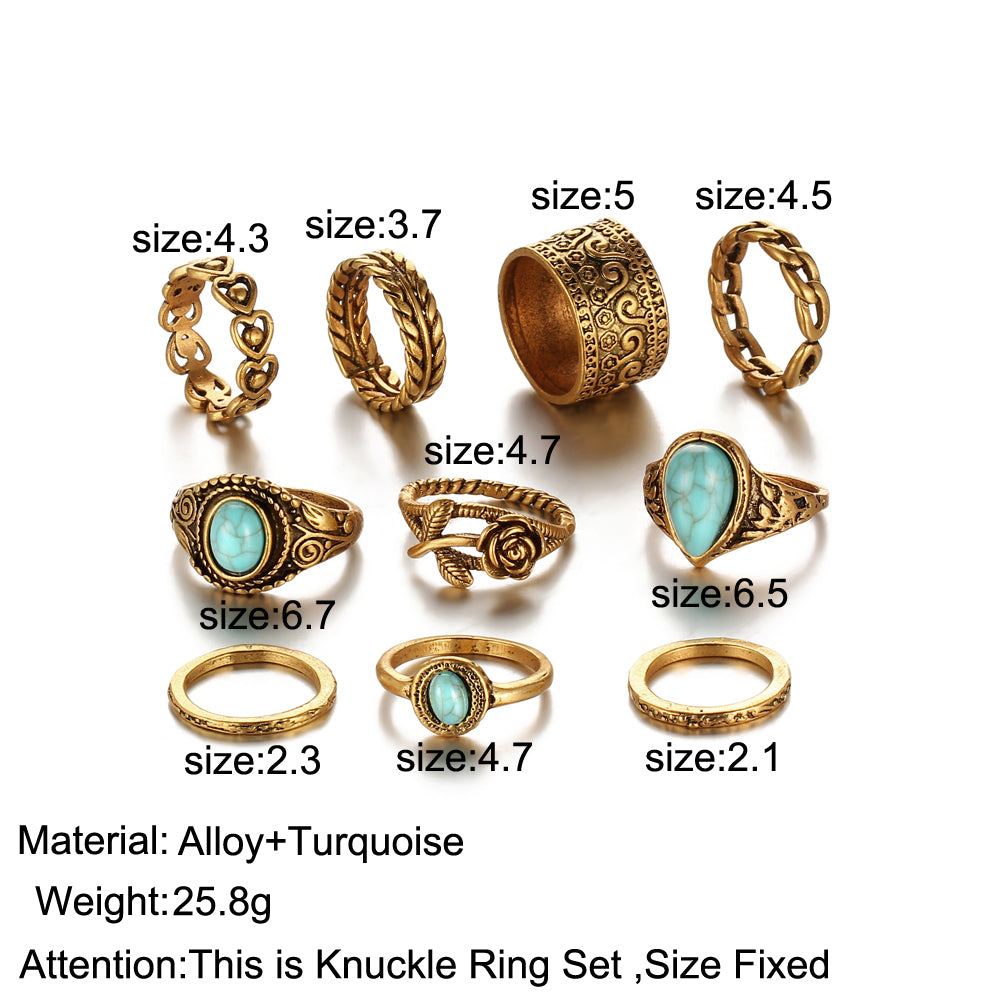 10 Piece Midi Rings Set - Big Blue Stone & Flower Rings - Bohemian Rings