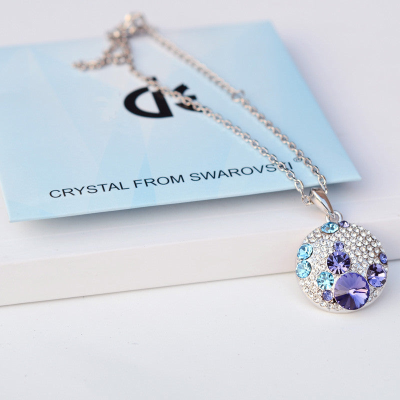 Round Silver Color Swarovski Crystal Necklace - Vintage Style Jewelry