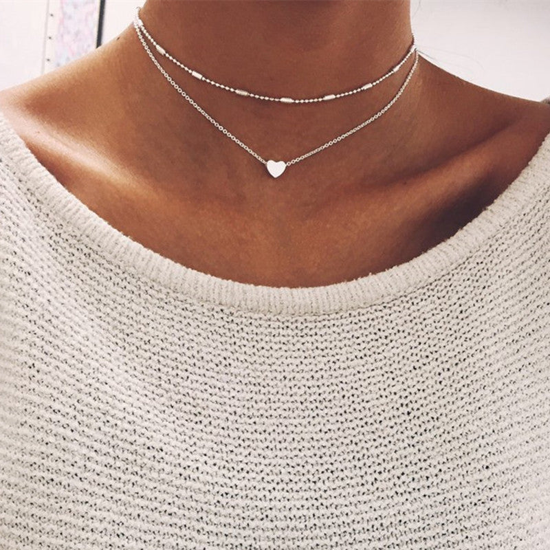 Double Layers Chain Heart Necklace - Multi-layer Necklace - Heart Choker