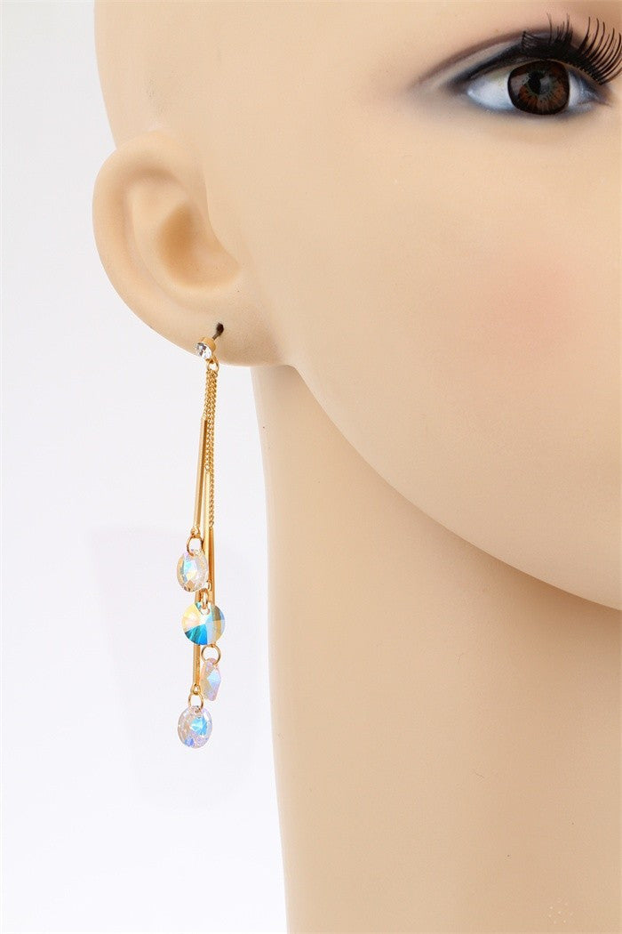 AAA Austria Crystal Drop Tassel Dangle Earrings With Yellow Gold Color Link Chain Bar