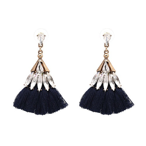 Tassel Crystal Earrings - Fringe Earrings - Statement Earrings - 10 Colors To Choose From