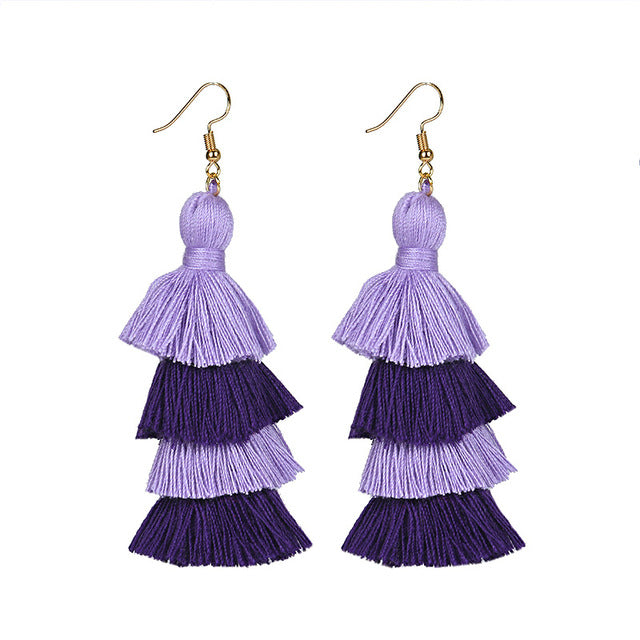 Neon Tiered Long Tassel Earrings - 4 Layered Fringe Earrings - Ombre Stacked Tassels Dangle Earrings