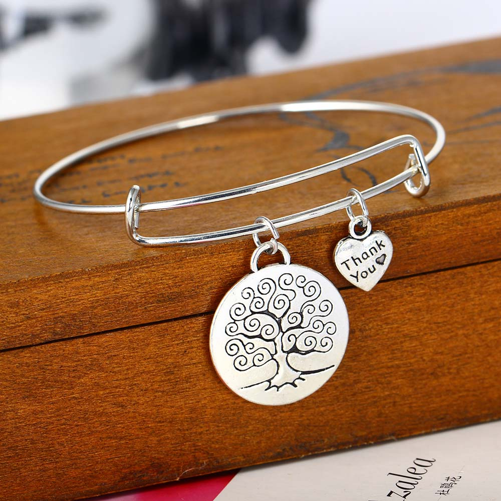 Tree Of Life and Grateful Heart Bracelet - Charm Bracelet
