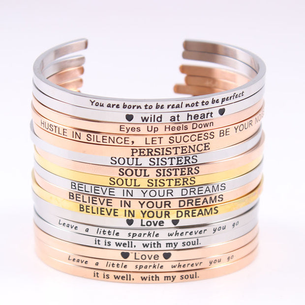 Stainless Steel Engraved Positive Inspirational Quote Bracelets - Hand Stamped Cuff Mantra Bracelet - Bangle For Women