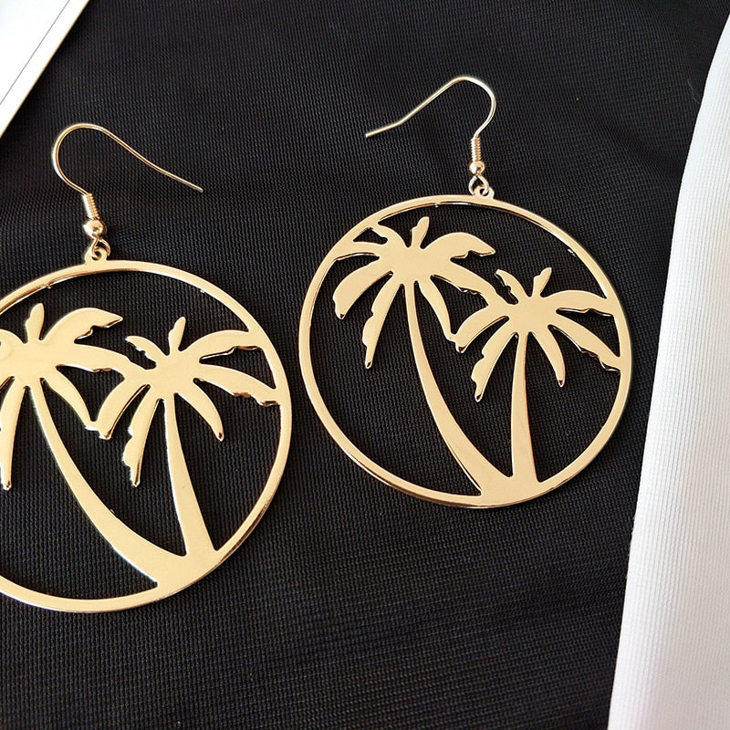 Palm Tree Dangle Earrings - Big Round Circle Drop Earrings