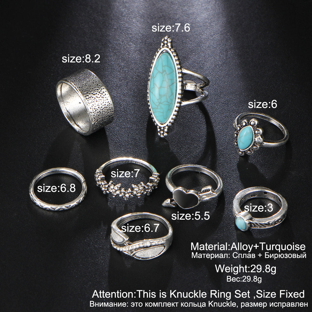 8 Piece Big Stone Midi Ring Set For Women - Heart Flower Rings - Boho Jewelry