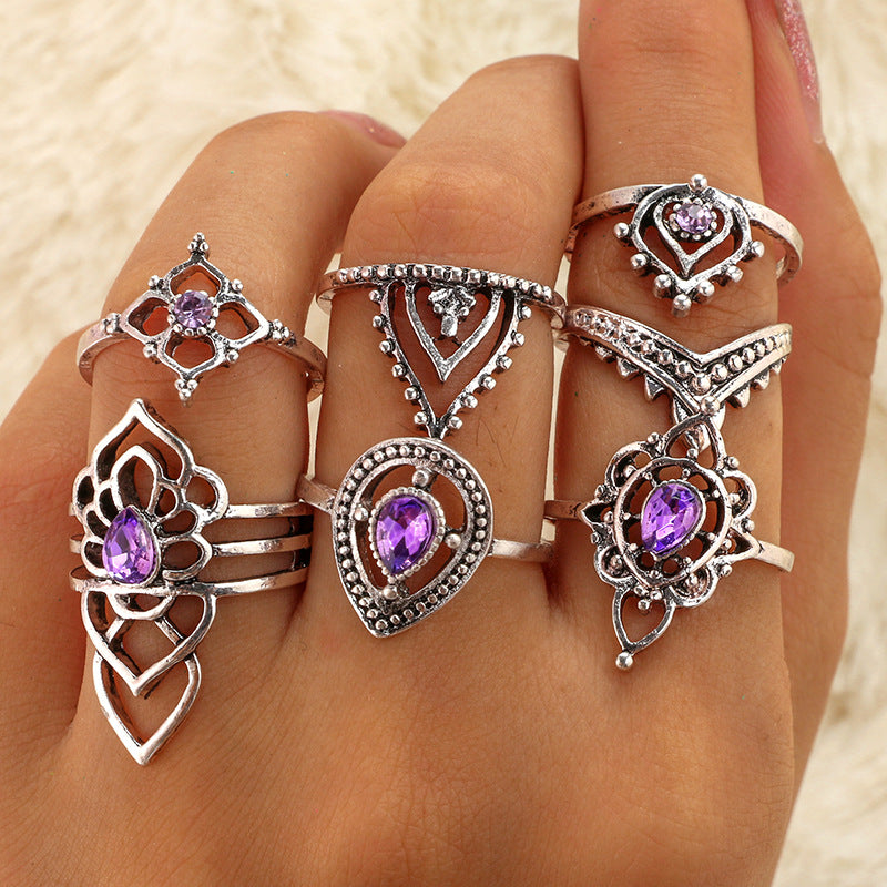 Boho Flower Ring Set - Purple Crystal Knuckle Midi Rings