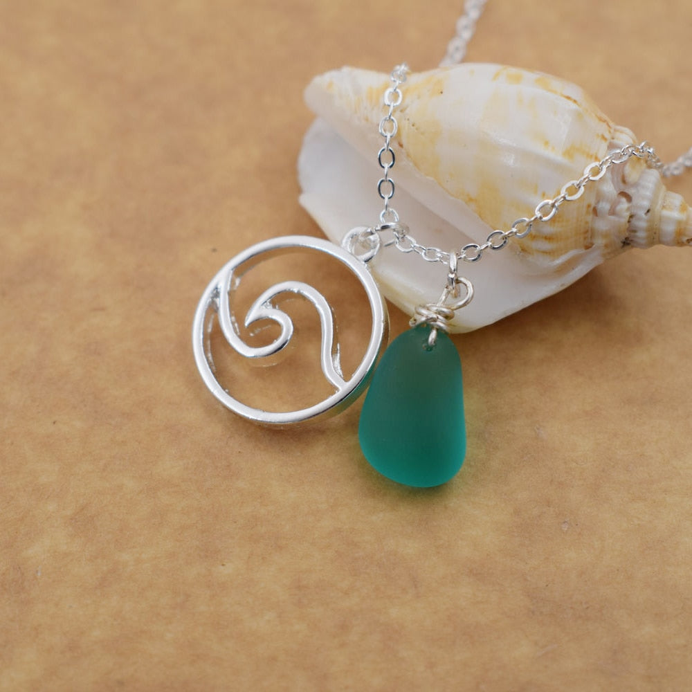 Wave Pendant With Sea Glass Necklace - Wave Jewelry - Ocean Wave Necklace