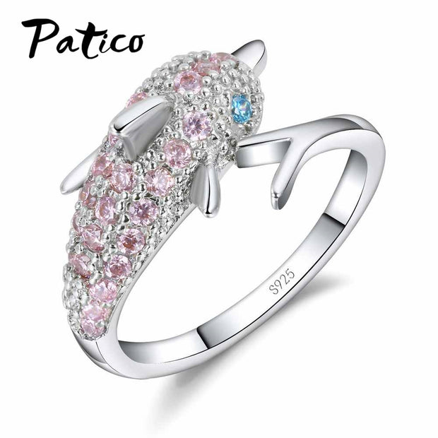 Blue Eyes Dolphin Austrian Crystal Sterling Silver Ring With Pink Cubic Zircon - Dolphin Crystal Ring