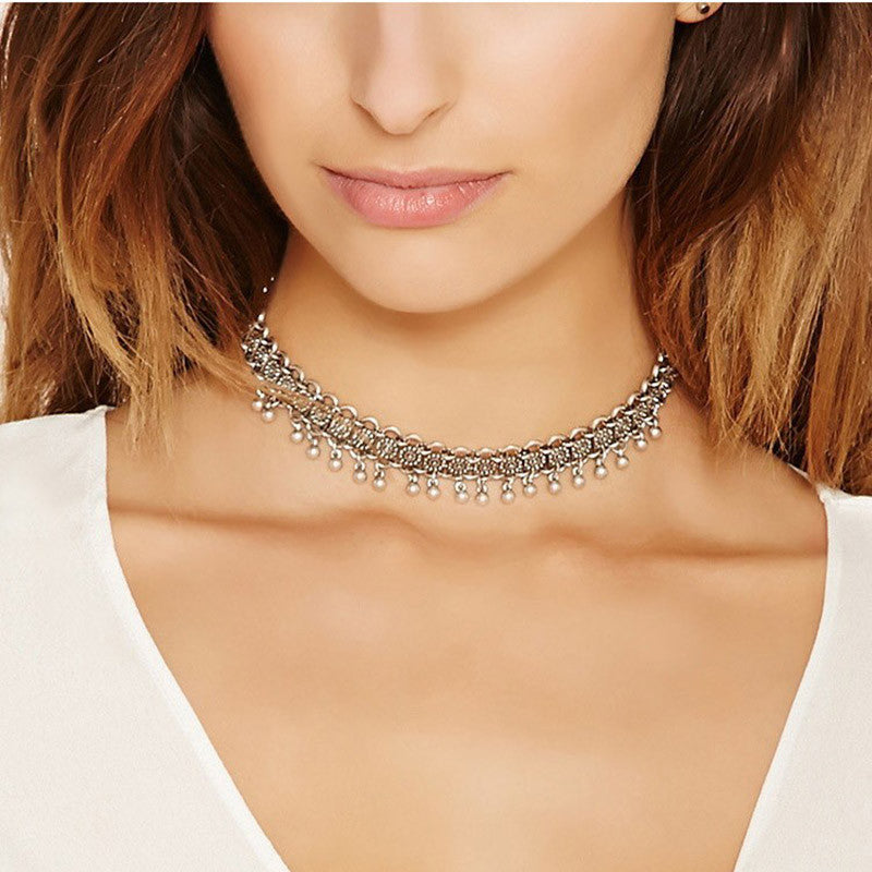 Boho Bell Choker Necklaces for Women - Turkish Antique Silver Plated
