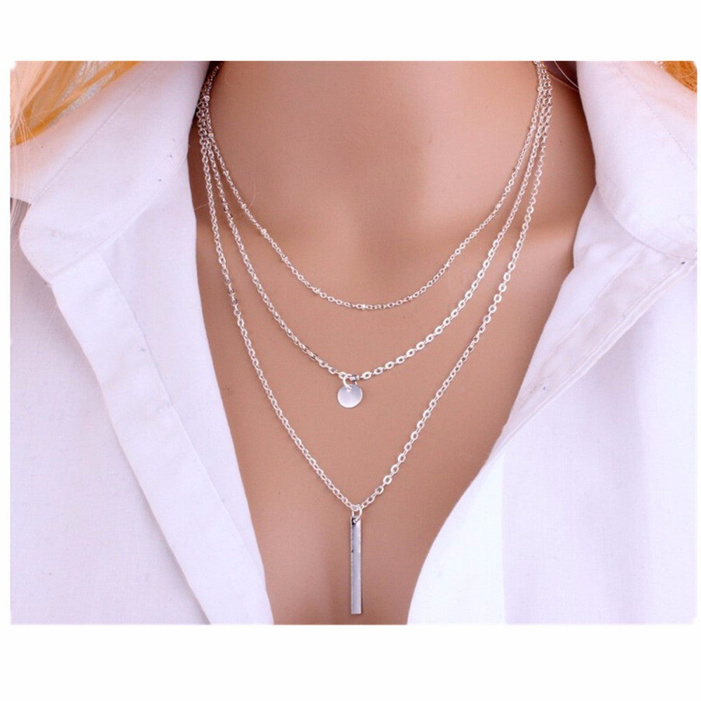 Bar Coin Multi-Layer Charm Chain Clavicle Necklace