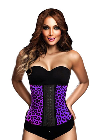 9 Steel Boned Purple Leopard Latex Waist Trainer