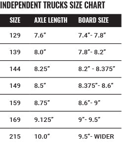 Independent Size Chart