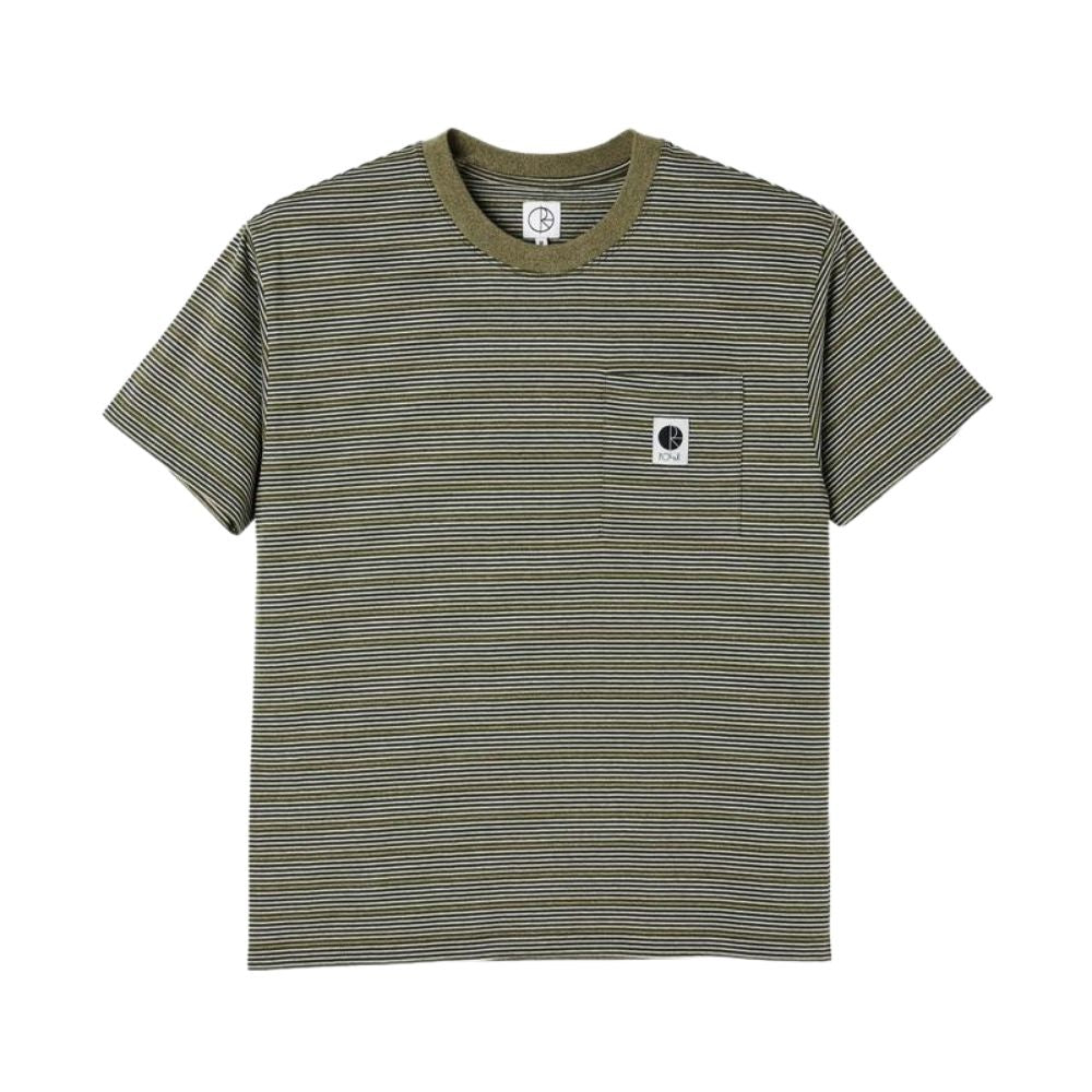 Polar Skate Co Stripe Pocket Tee Army Green | 1991 Skateshop | Fremantle WA
