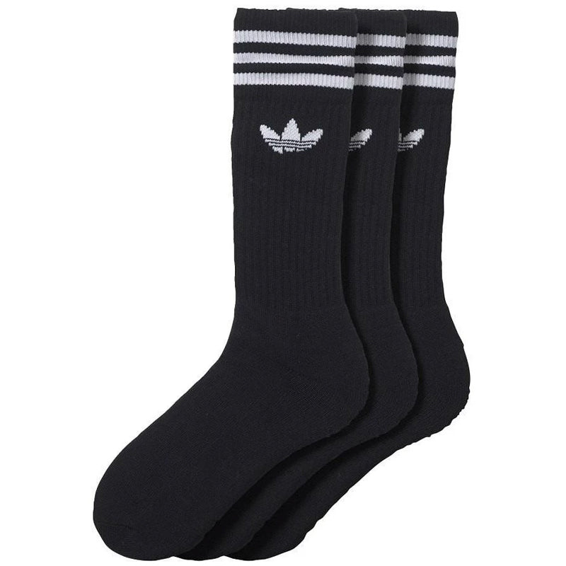 Adidas Solid Crew Socks 3 Pack Black/White