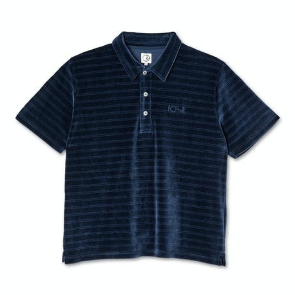 Polar Skate Co Stripe Velour Stripe Shirt Navy | 1991 Skateshop | Fremantle WA