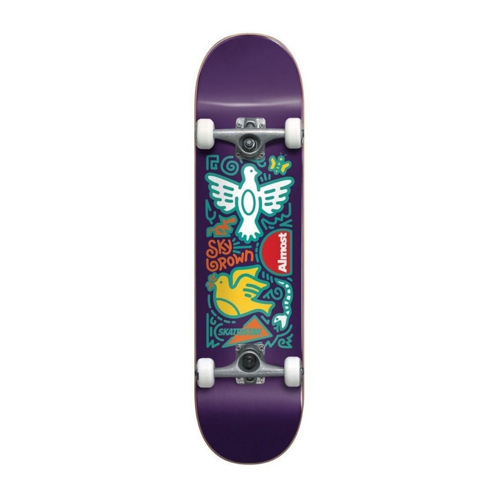 Almost Skateistan Sky Doodle First Push Purple 7.875 Complete Skateboard | 1991 Skateshop | Fremantle WA