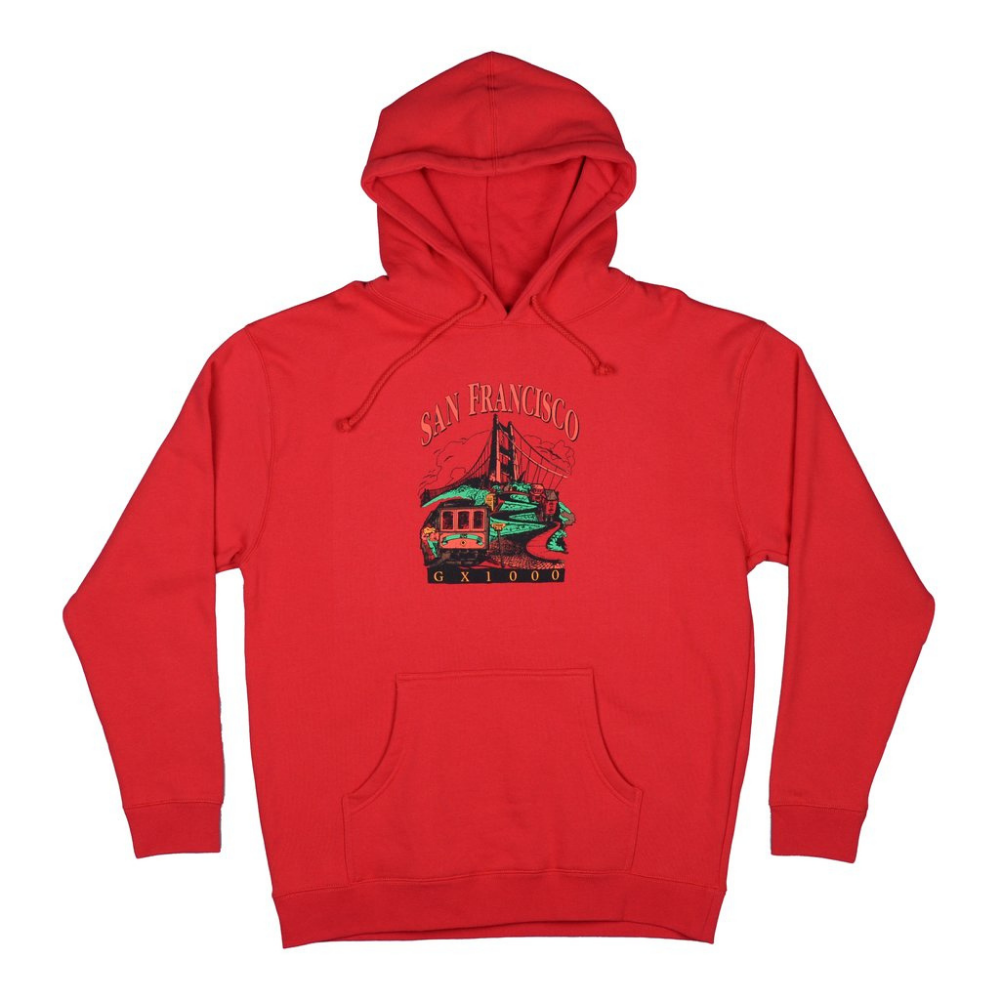 GX1000 Tourist Sweat Hood Red | 1991 Skateshop | Fremantle WA