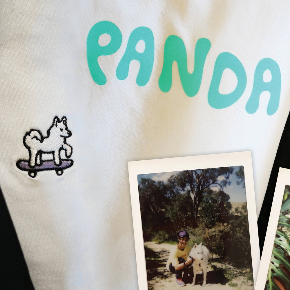 Panda Logo Youth Tee Light Teal/White